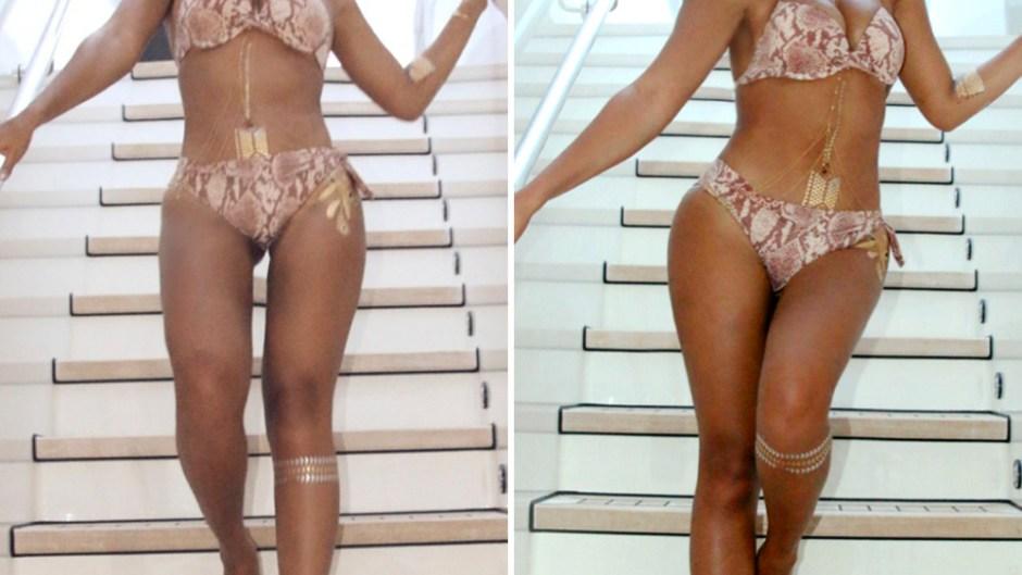 Legs between sexy gap Pussy