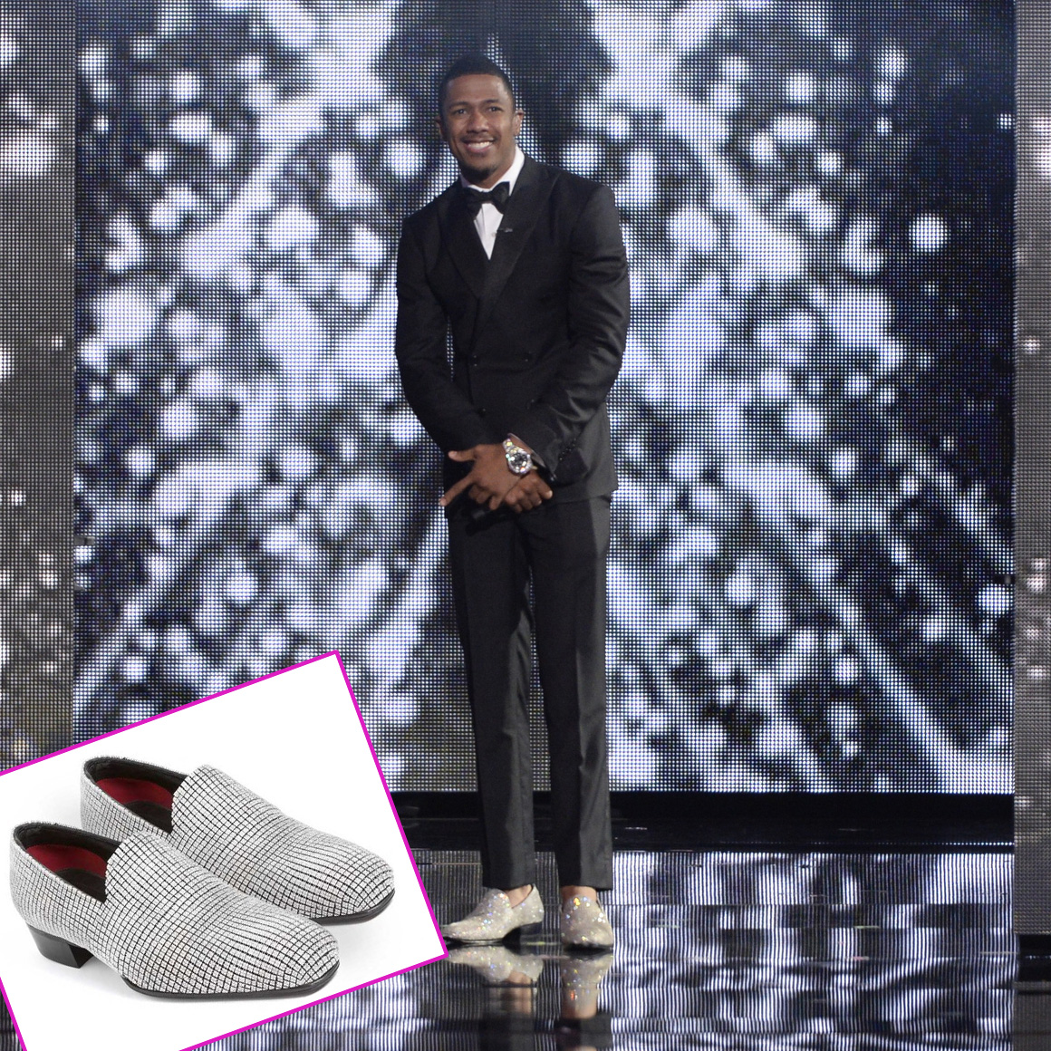 Encrusted diamond shoes nick cannon