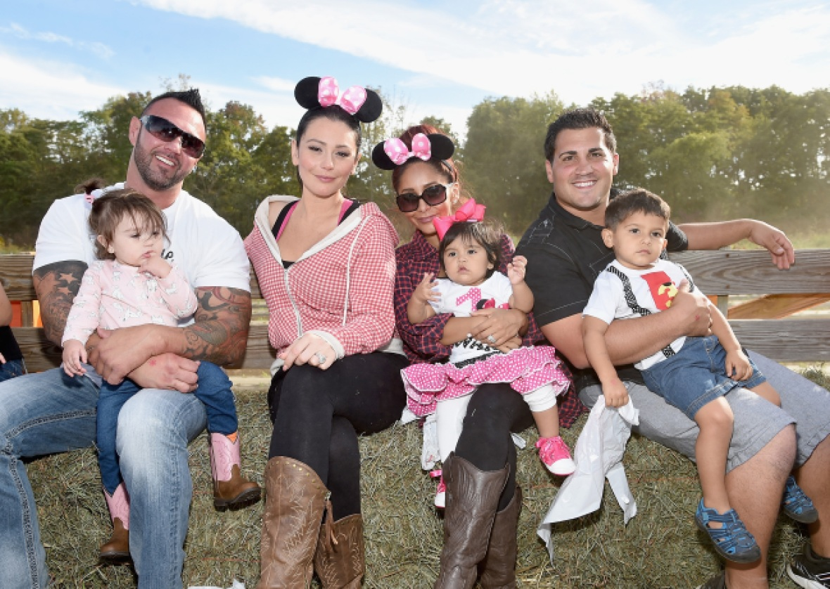 jwoww and snooki with husbands and kids in 2015 getty
