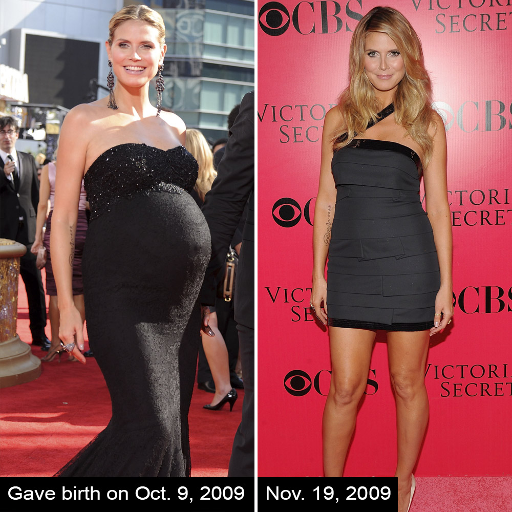 da7e7a40faf92 Heidi Klum gave birth to her daughter Lou on Oct. 9, 2009. Just five weeks  later she walked the runway at the Victoria's Secret Fashion Show.