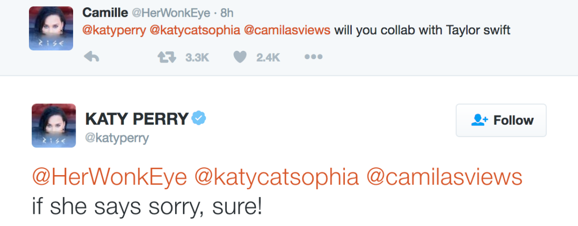 katy perry tweet about taylor swift