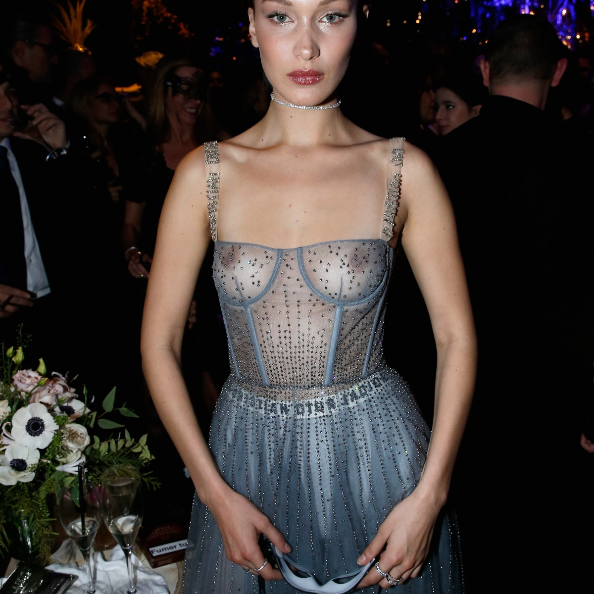 b8be94af45 Bella Hadid Exposes Her Nipples in Completely Sheer Dress at the Dior  Masquerade Ball