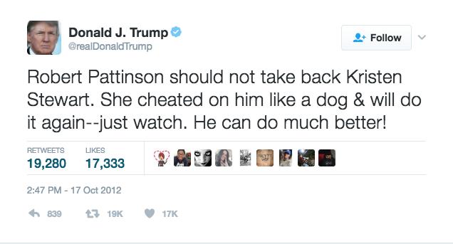 donald trump kristen stewart twitter