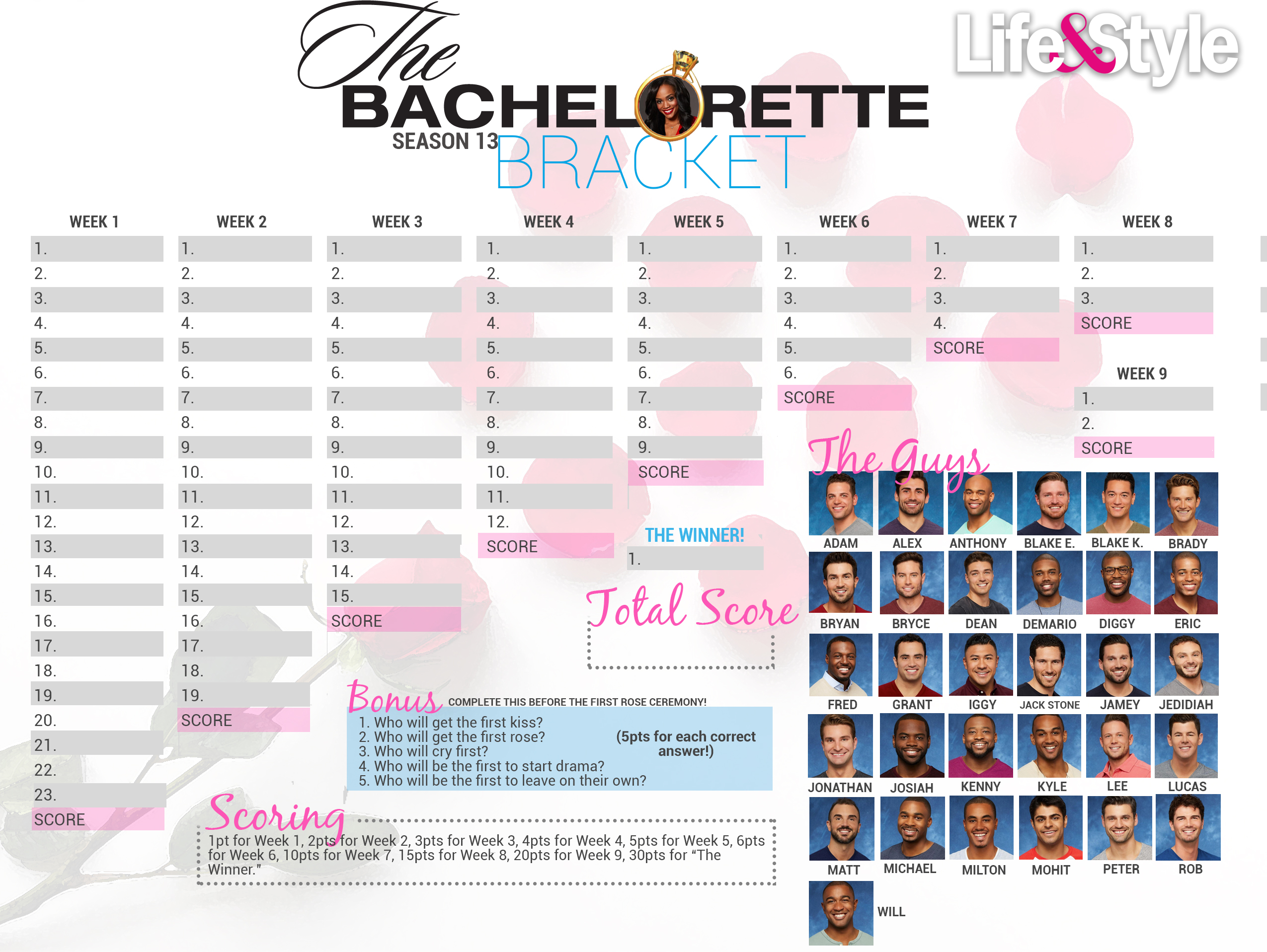 image about Bachelor Bracket Printable Nick referred to as Bachlorette 2017 Bracket: Obtain, Print Yours Currently