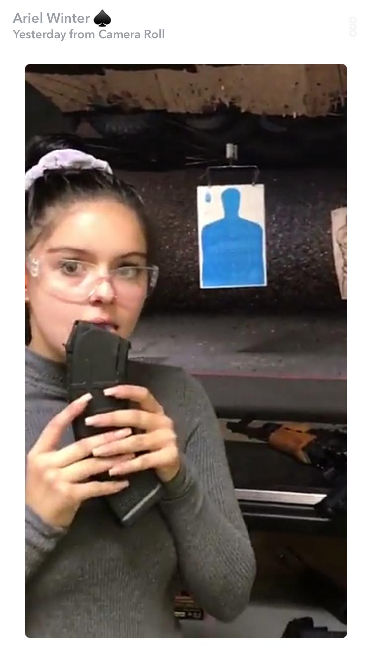 ariel winter licking gun - snapchat