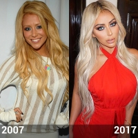 Side-by-Side Photos of Aubrey O'Day in 2007 and 2017