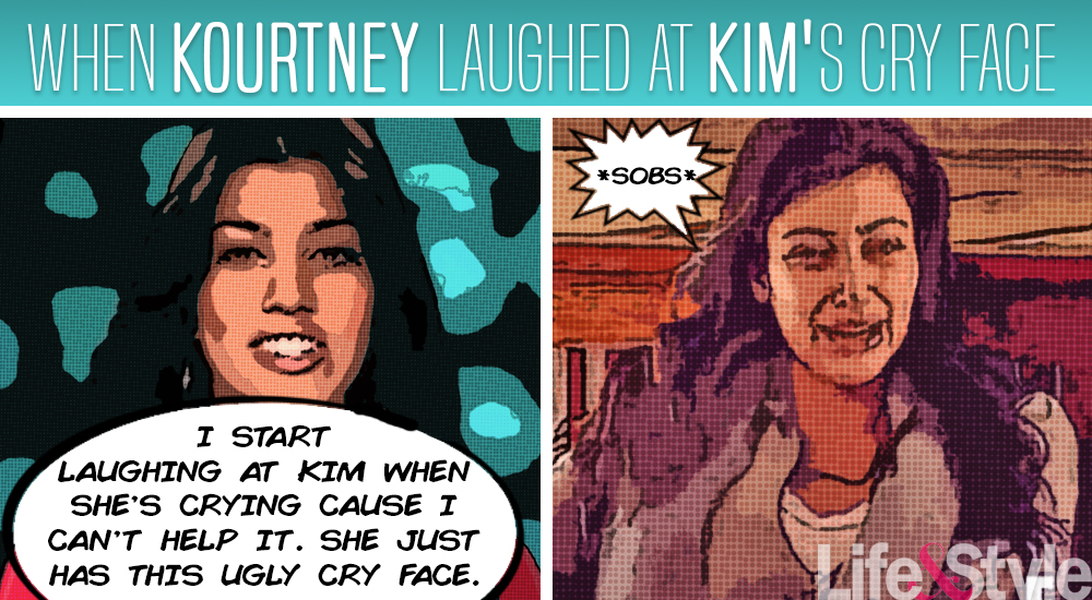 kourtney laughs at kim's cry face