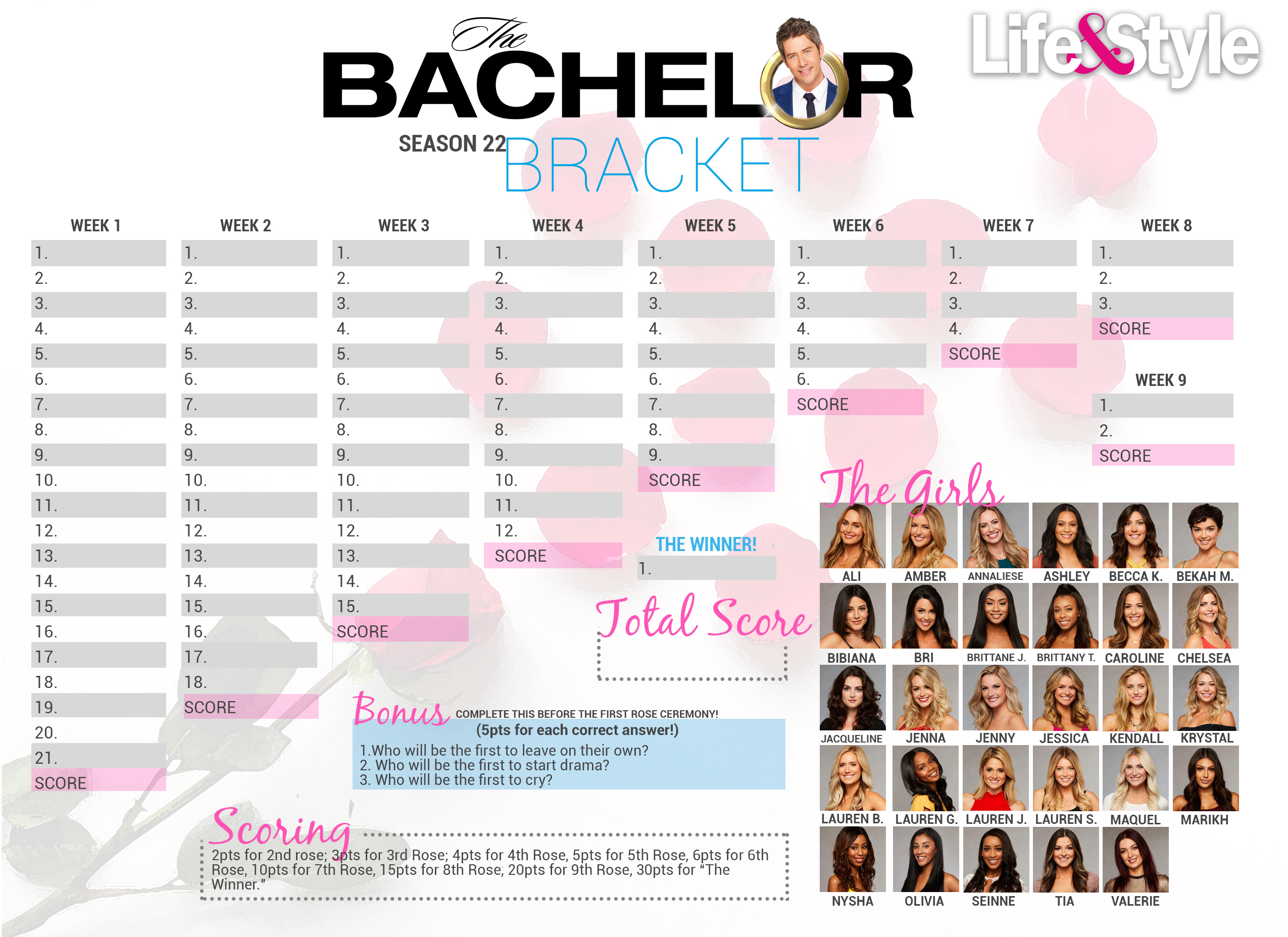 graphic about Bachelor Bracket Printable Nick called The Bachelor 2018 Bracket Obtain Your Year 22 Bracket