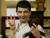 when he does an eye test on his teddy bear - Merry Christmas Mr Bean