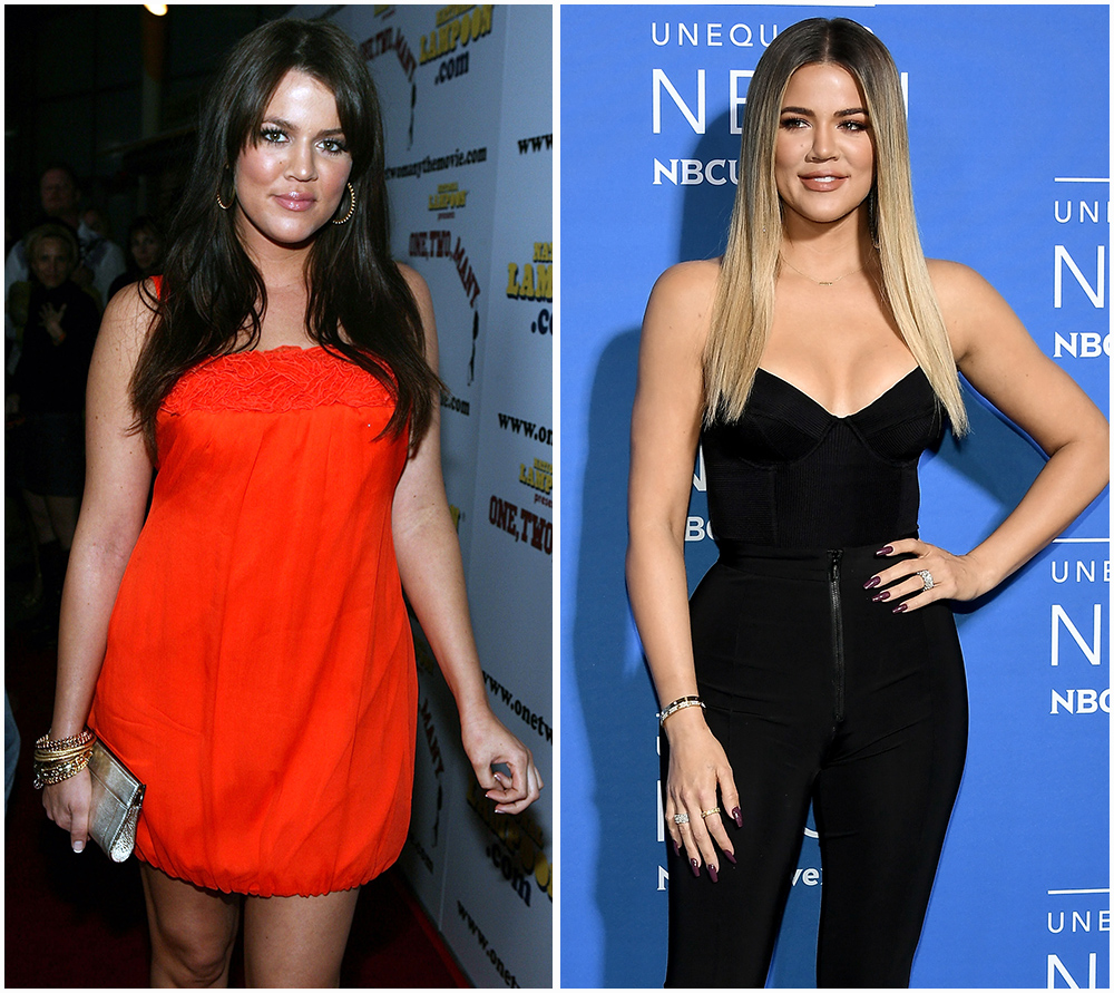 khloé kardashian (2008 vs. 2017) getty images