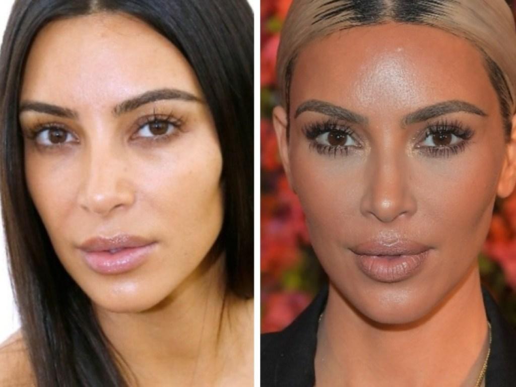 kim kardashian without makeup vs. with makeup