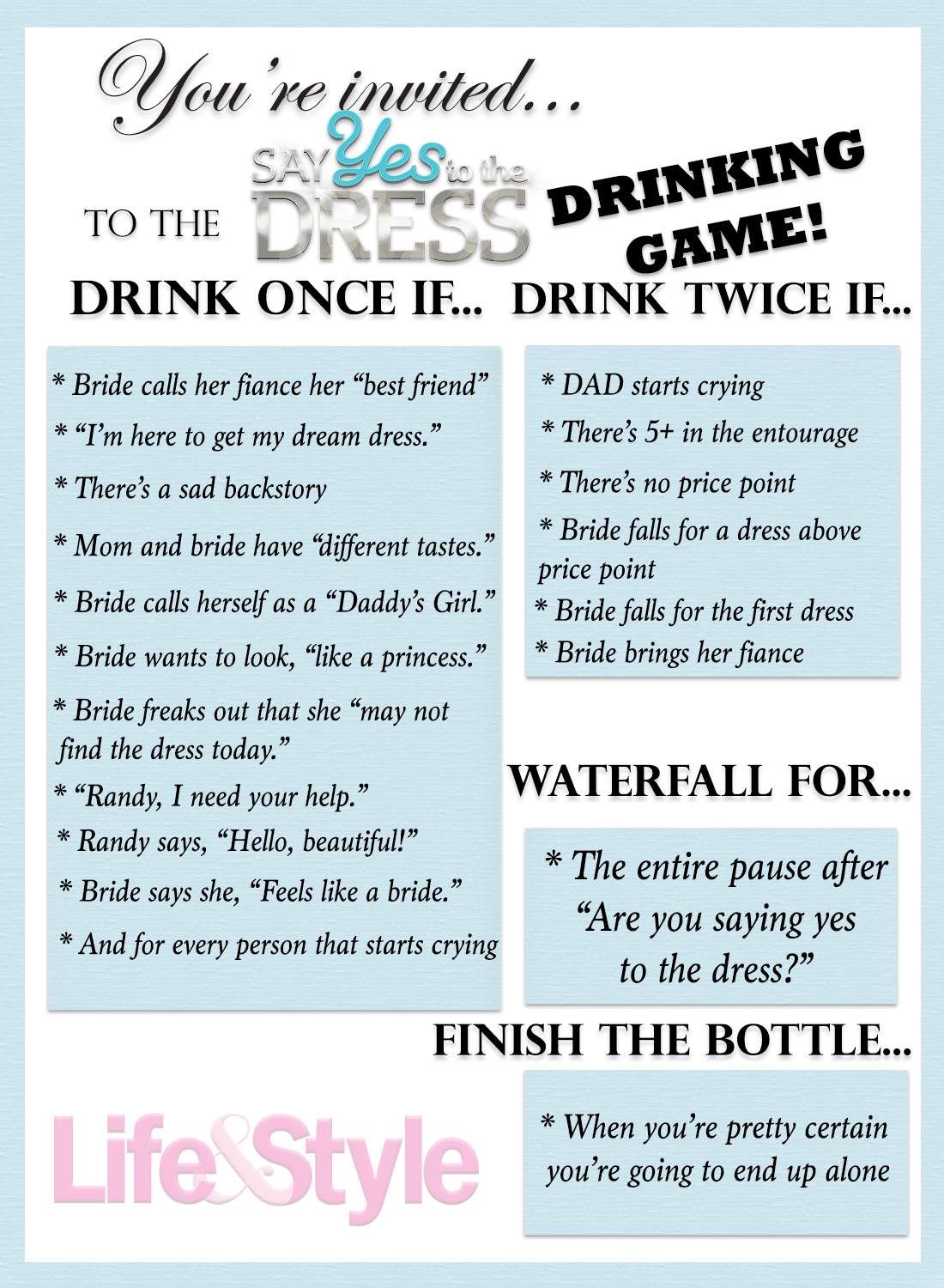 say yes to the dress drinking game