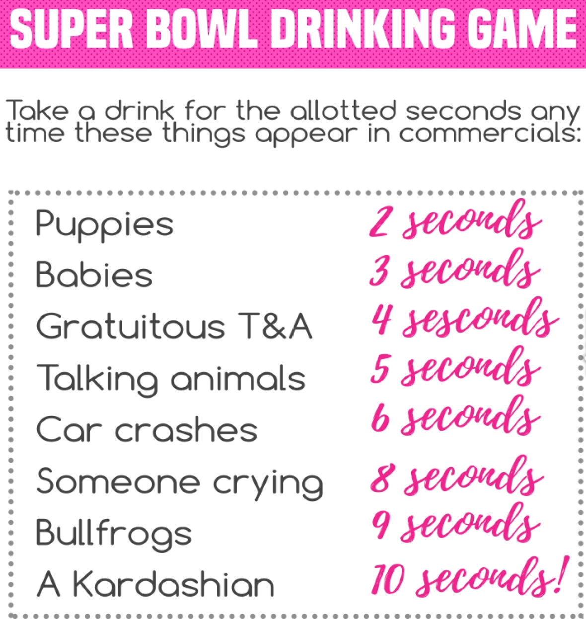 super bowl 2018 drinking game again