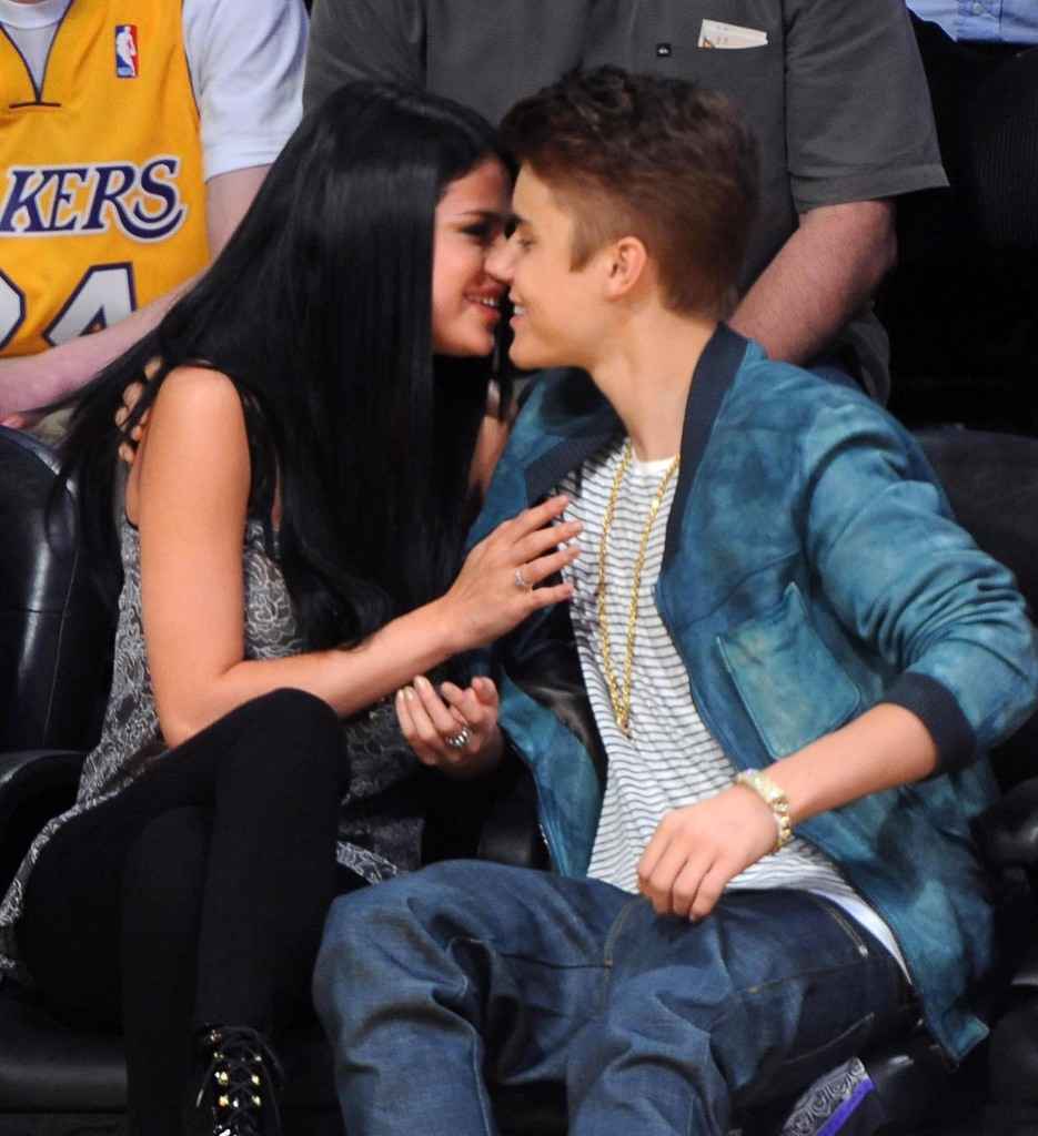 Justin Bieber and Selena Gomez Relationship Timeline Kissing at Lakers Game