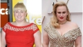 Rebel Wilson Weight Loss Before and After Orange Dress and gold Glittering Dress and Oscars