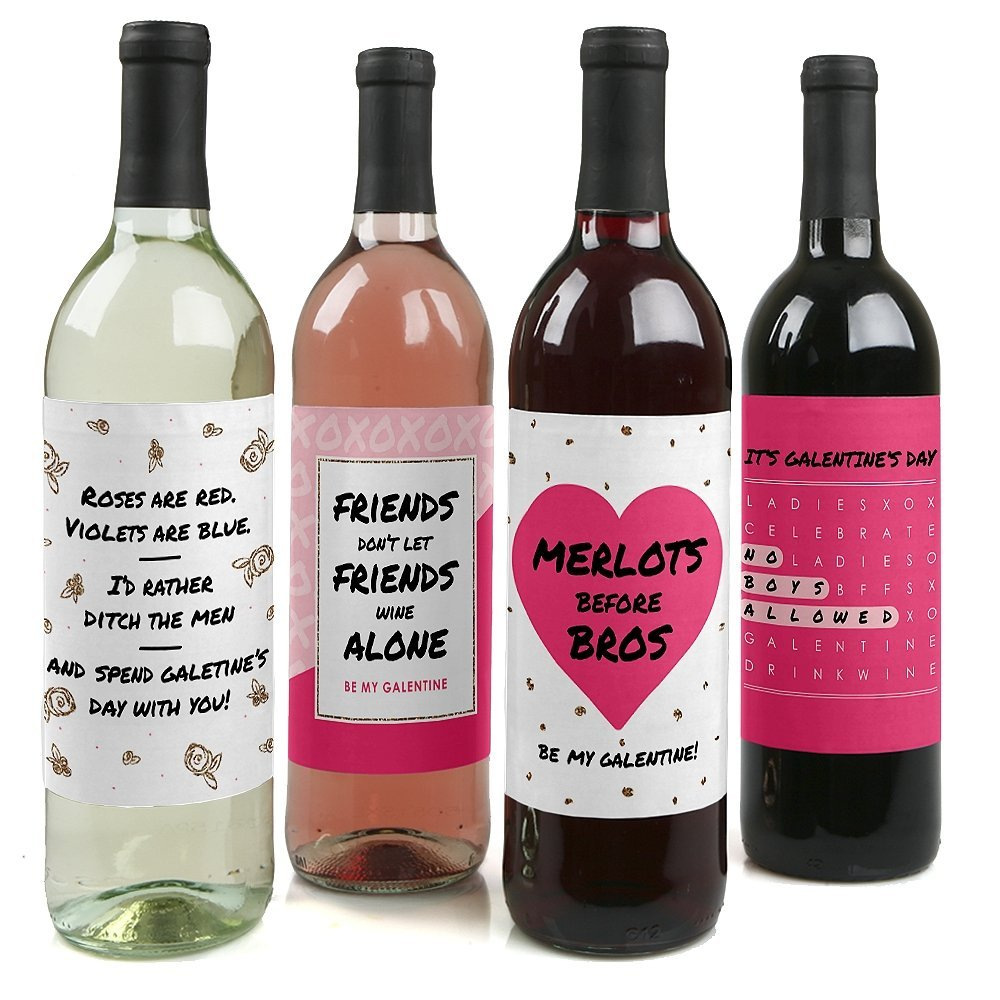 galentine's day wine labels