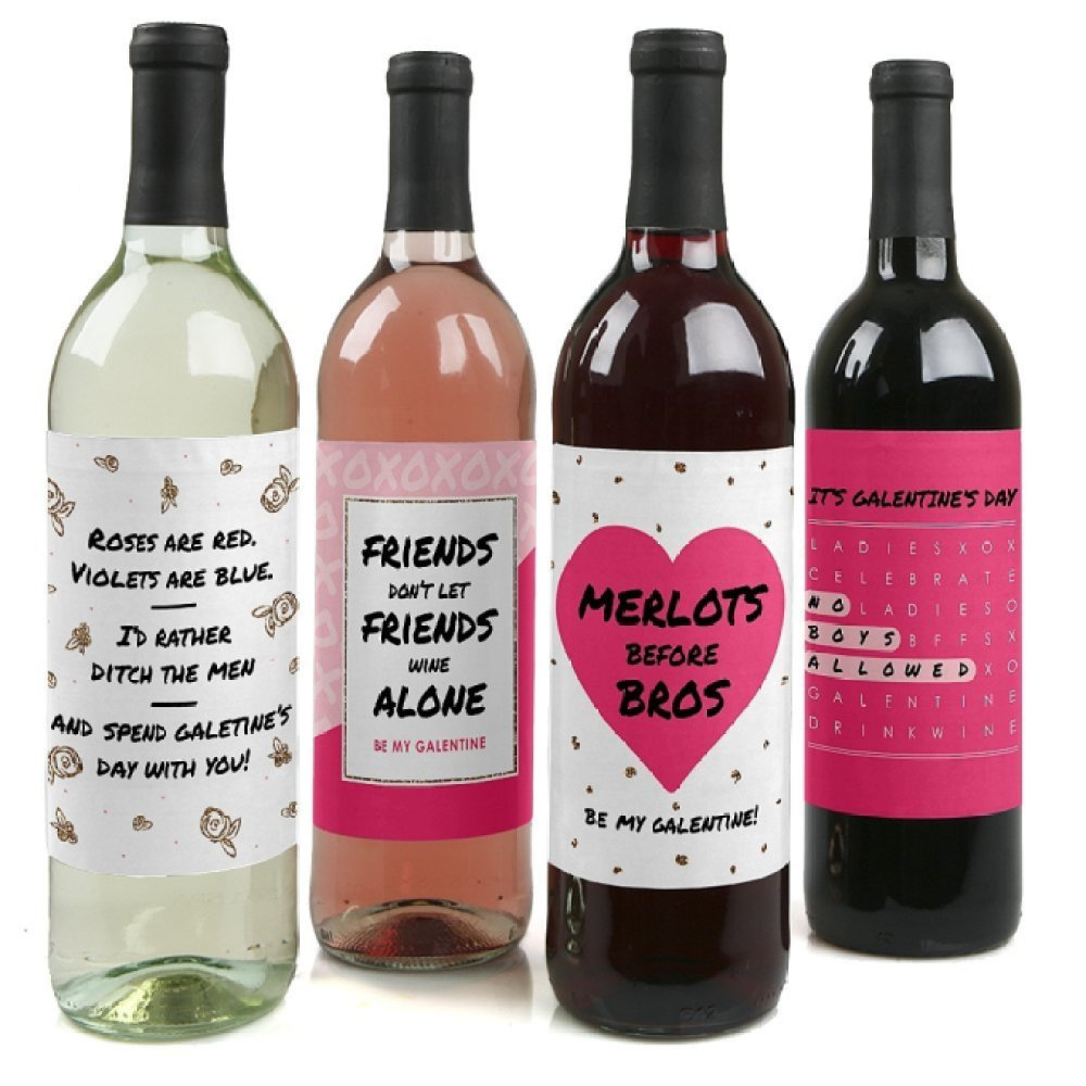 galentine's day wine labels