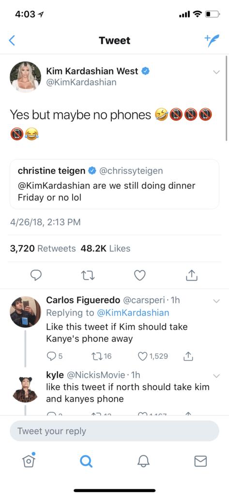 kim kardashian chrissy teigen tweets