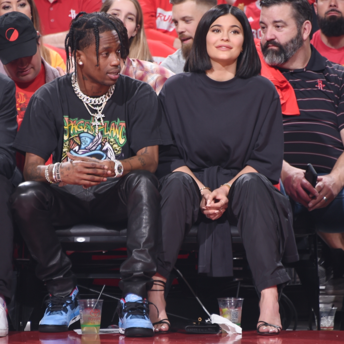 kylie jenner travis scott basketball game getty images