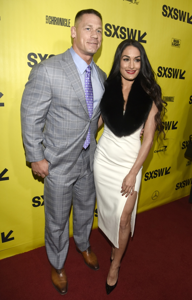 ohn Cena and Nikki Bella attend the 'Blockers' Premiere at the Paramount Theatre on March 10, 2018 in Austin, Texas.