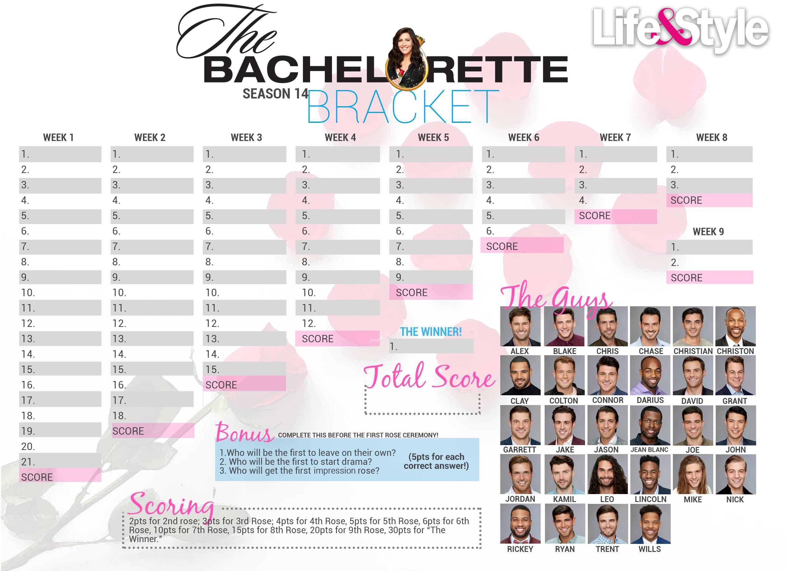 photo about Bachelorette Bracket Printable identify Bachelorette Bracket 2018 Down load, Print Prior to the Premiere