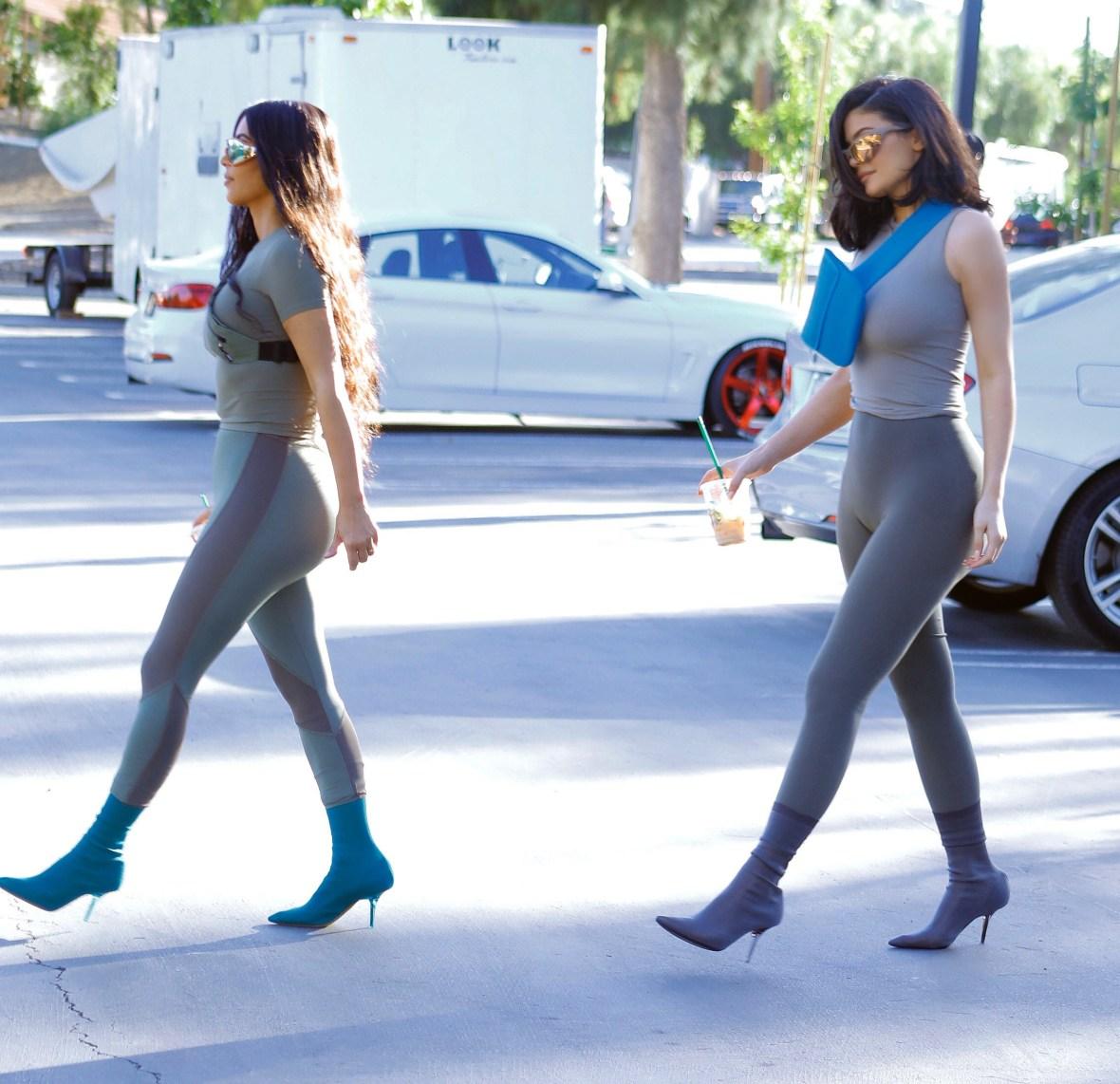 kim kardashian kylie jenner matching outfits splash