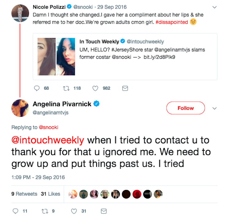 snooki and angelina's twitter beef