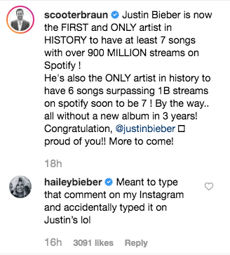 Hailey Baldwin Comments on Scooter Braun's IG Post
