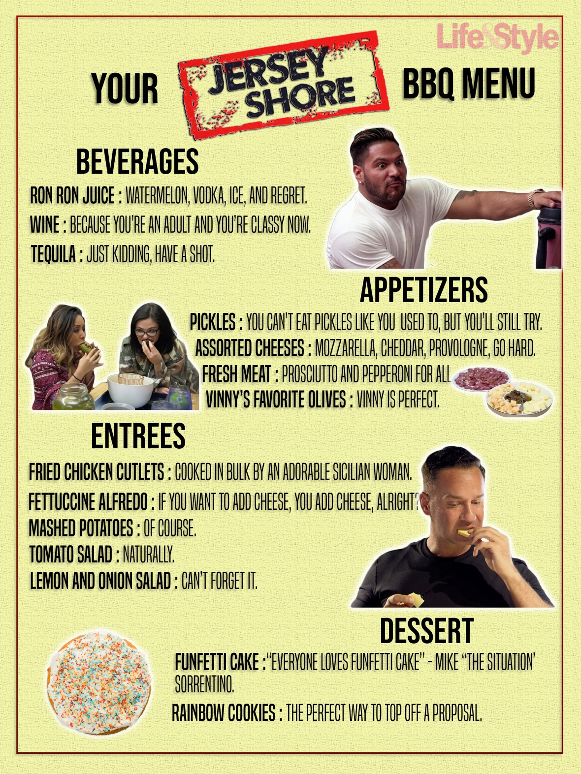 jersey shore themed party food