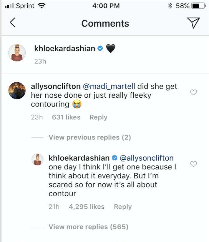 khloe kardashian nose job
