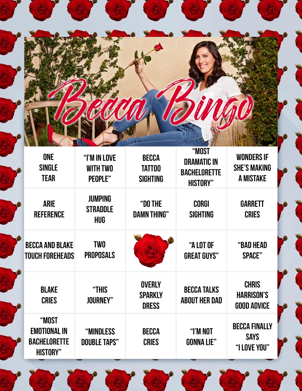 becca bachelorette finale bingo card