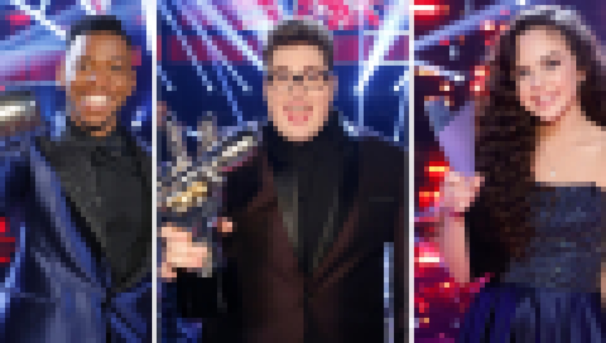 Chris Blue, Jordan Smith, and Chevel Shepherd after winning their seasons of The Voice