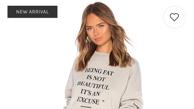 c9f8e7dfac80 Revolve Is Really Pissing A Lot of People Off With Their New Body-Shaming  Sweatshirt