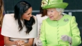 Meghan Markle, Queen Elizabeth, Sitting, Laughing