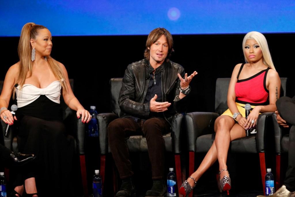 Mariah Carey Keith Urban and Nicki Minaj on American Idol set