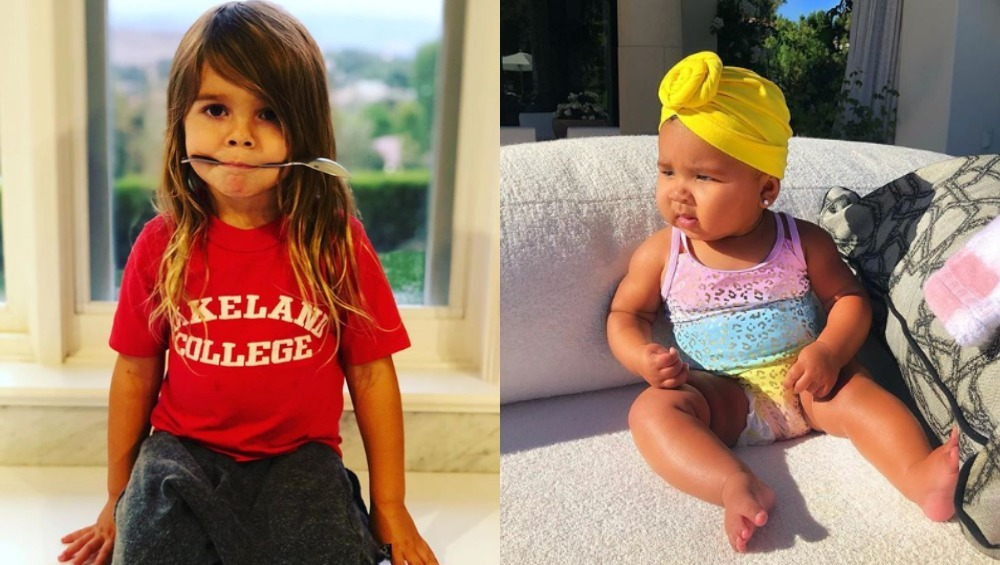 Side by side photos of Reign Disick and True Thompson
