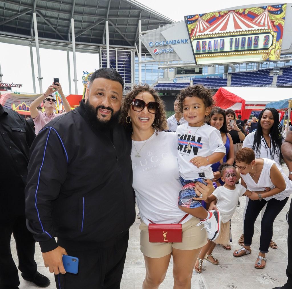 DJ Khaled, Nicole Tuck, and Asahd At Marlins Stadium
