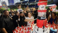 DJ Khaled, Nicole Tuck, Asahd Cut Birthday Cake