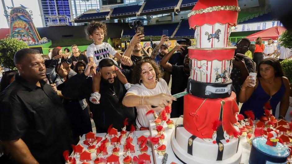DJ Khaled, Nicole Tuck, Asahd Cut Birthday Cake