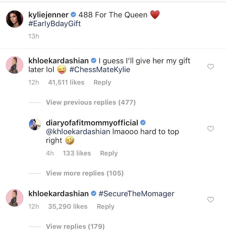 Khloe commenting on Kylie's Instagram
