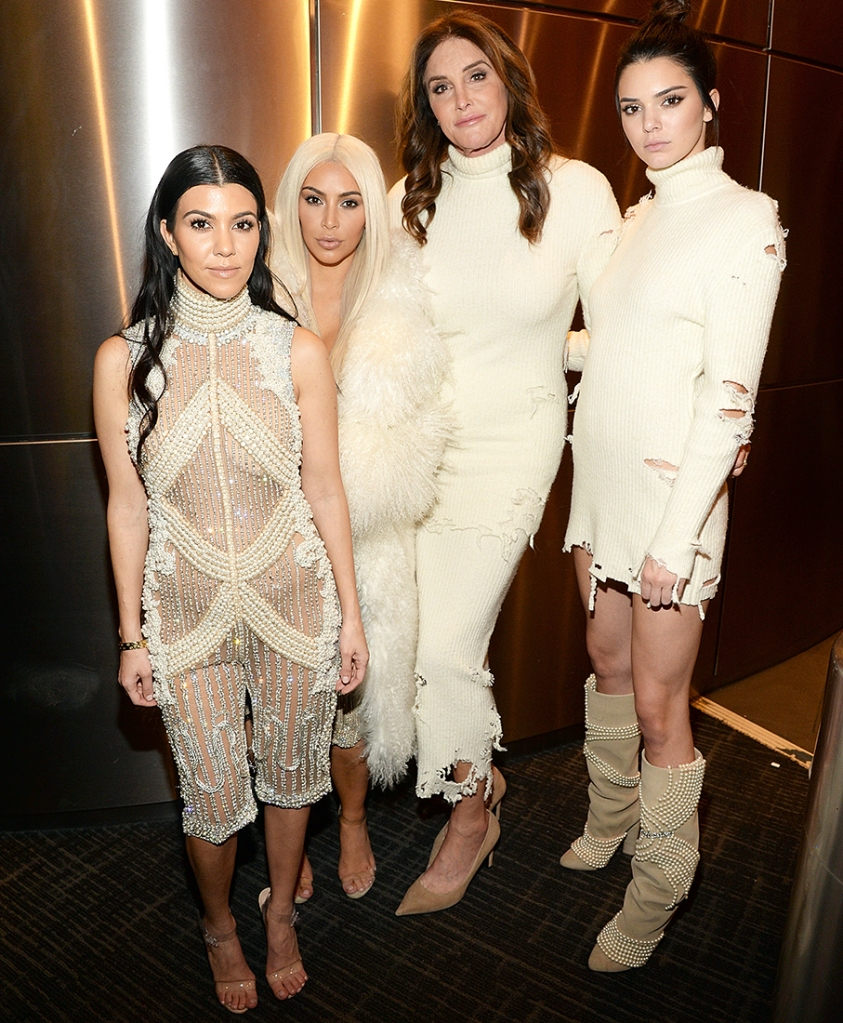 Kourtney Kardashian, Kim Kardashian West, Caitlyn Jenner and Kendall Jenner attend Kanye West Yeezy Season 3 at Madison Square Garden on February 11, 2016 in New York City