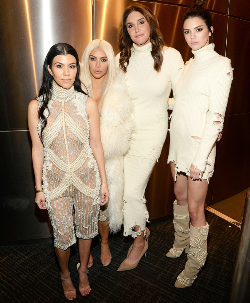 Kourtney Kardashian, Kim Kardashian West, Caitlyn Jenner and Kendall Jenner attend Kanye West Yeezy Season 3 at Madison Square Garden on February 11, 2016 in New York City