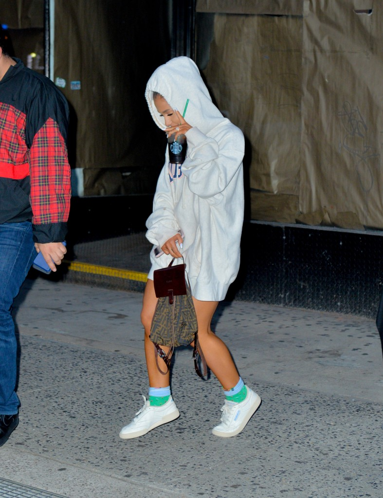 Ariana Grande spotted out in New York leaving studio