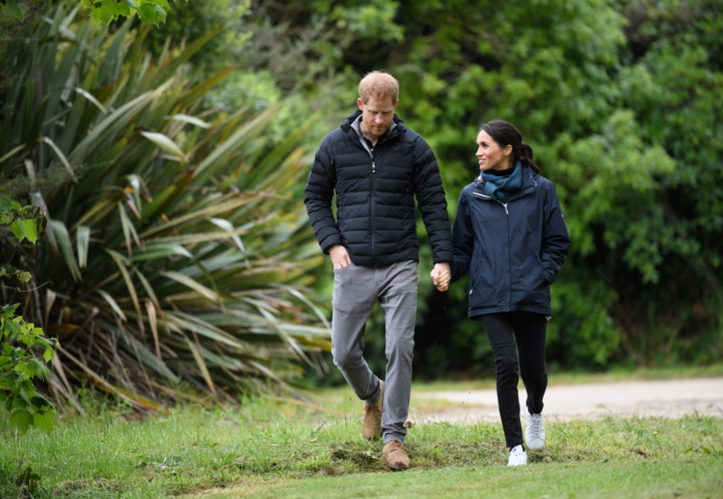 Prince Harry and Meghan Markle on a walk