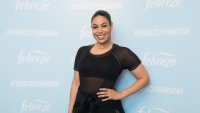 Jordin Sparks at a Febreze event in NYC, wearing all black