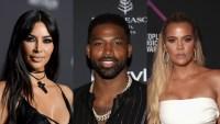 Kim Kardashian, Tristan hompson, Khloe Kardashian side by side