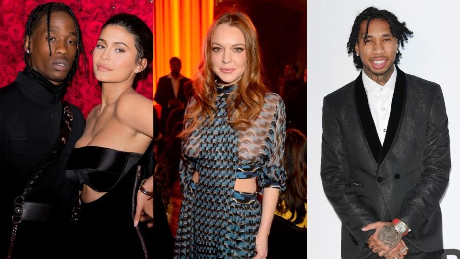 Kylie Jenner, Travis Scott, Lindsay Lohan, Tyga side by side photos