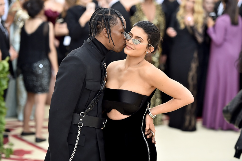 Kylie Jenner and Travis Scott at the Met Gala in NYC, wearing all black