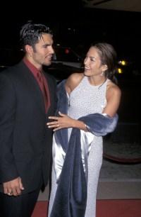 Jennifer Lopez, wearing purple with first husband Ojani