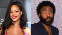 Side by side photo of Rihanna and Donald Glover
